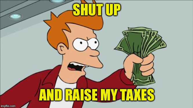 Shut Up And Take My Money Fry | SHUT UP AND RAISE MY TAXES | image tagged in memes,shut up and take my money fry | made w/ Imgflip meme maker