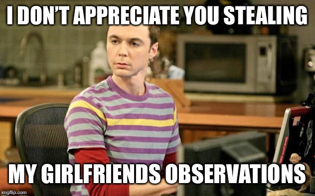Sheldon Big Bang Theory  | I DON'T APPRECIATE YOU STEALING MY GIRLFRIENDS OBSERVATIONS | image tagged in sheldon big bang theory | made w/ Imgflip meme maker