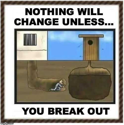 FEELING TRAPPED? | NOTHING WILL CHANGE UNLESS... YOU BREAK OUT | image tagged in prisoner,prison escape,inspirational memes,satire | made w/ Imgflip meme maker