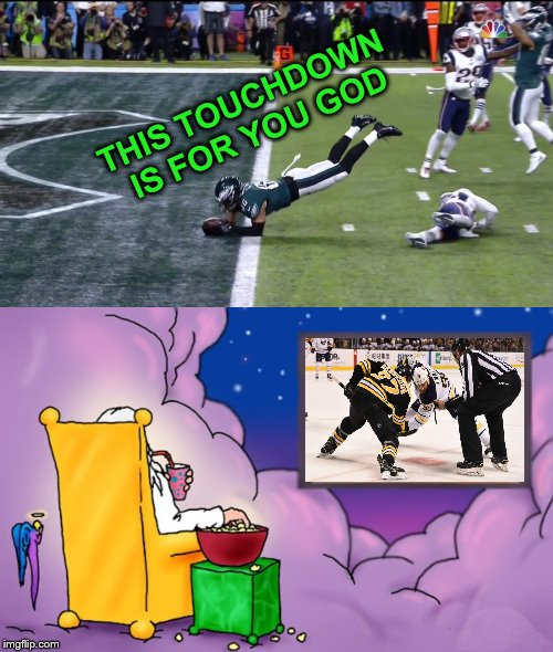 I'm going to assume he has Satellite television? | THIS TOUCHDOWN IS FOR YOU GOD | image tagged in football,nhl,hockey,touchdown,god,television | made w/ Imgflip meme maker