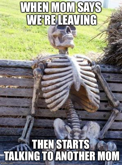 When mom says | WHEN MOM SAYS WE'RE LEAVING THEN STARTS TALKING TO ANOTHER MOM | image tagged in memes,waiting skeleton | made w/ Imgflip meme maker