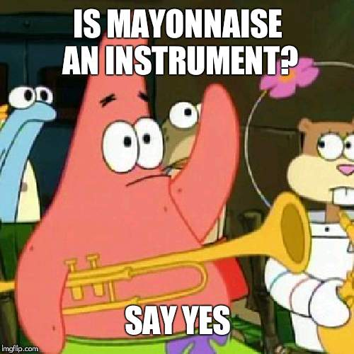 im with Pat on this one....... Mayonnaise and Ketchup and Mustard are instruments! | IS MAYONNAISE AN INSTRUMENT? SAY YES | image tagged in memes,no patrick | made w/ Imgflip meme maker