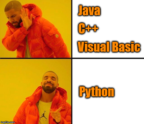 Beautiful is better than ugly | Java C++ Visual Basic Python | image tagged in drake meme,programmers,coding | made w/ Imgflip meme maker