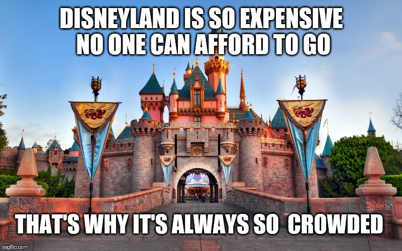 Disneyland | DISNEYLAND IS SO EXPENSIVE NO ONE CAN AFFORD TO GO THAT'S WHY IT'S ALWAYS SO  CROWDED | image tagged in disneyland | made w/ Imgflip meme maker
