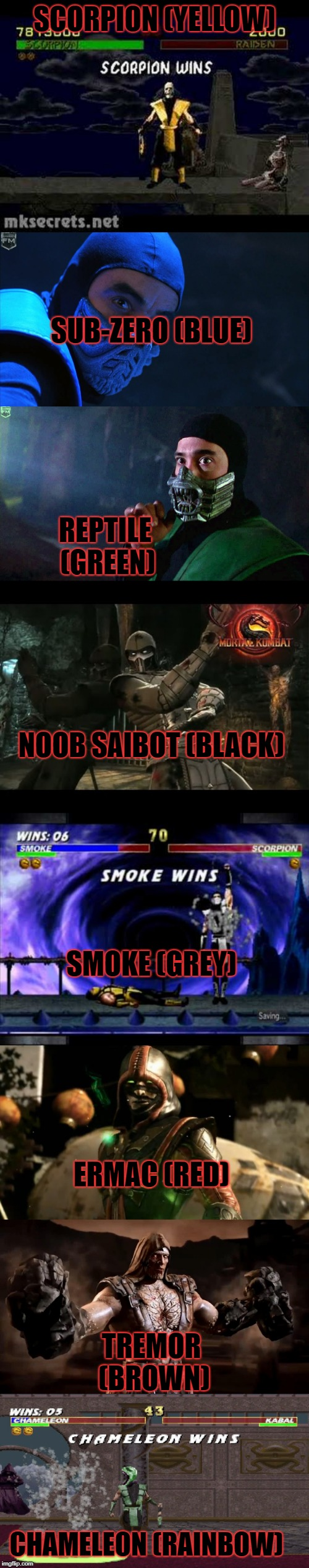 SCORPION (YELLOW); SUB-ZERO (BLUE); REPTILE (GREEN); NOOB SAIBOT (BLACK); SMOKE (GREY); ERMAC (RED); TREMOR (BROWN); CHAMELEON (RAINBOW) | image tagged in mortal kombat,ninjas,colors | made w/ Imgflip meme maker