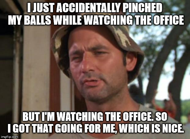 So I Got That Goin For Me Which Is Nice | I JUST ACCIDENTALLY PINCHED MY BALLS WHILE WATCHING THE OFFICE BUT I'M WATCHING THE OFFICE. SO I GOT THAT GOING FOR ME, WHICH IS NICE. | image tagged in memes,so i got that goin for me which is nice,AdviceAnimals | made w/ Imgflip meme maker