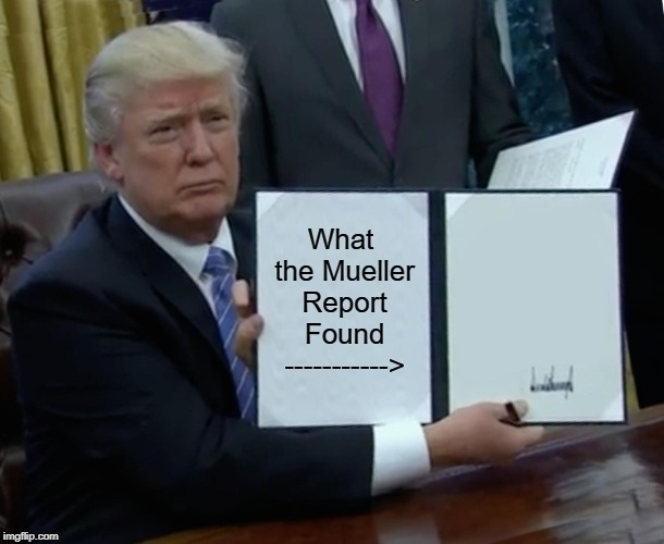 Thanks for Wasting Our Tax $$$ smh | What the Mueller Report Found -----------> | image tagged in memes,trump bill signing | made w/ Imgflip meme maker