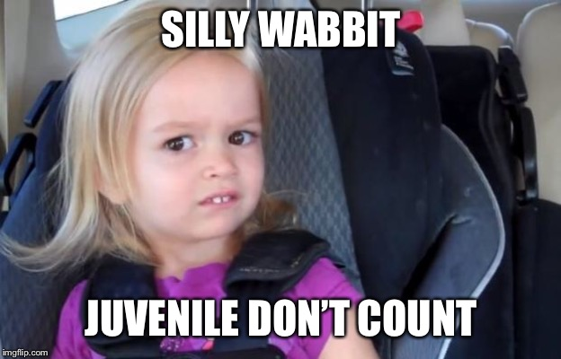 Side Eyeing Chloe | SILLY WABBIT JUVENILE DON'T COUNT | image tagged in side eyeing chloe | made w/ Imgflip meme maker