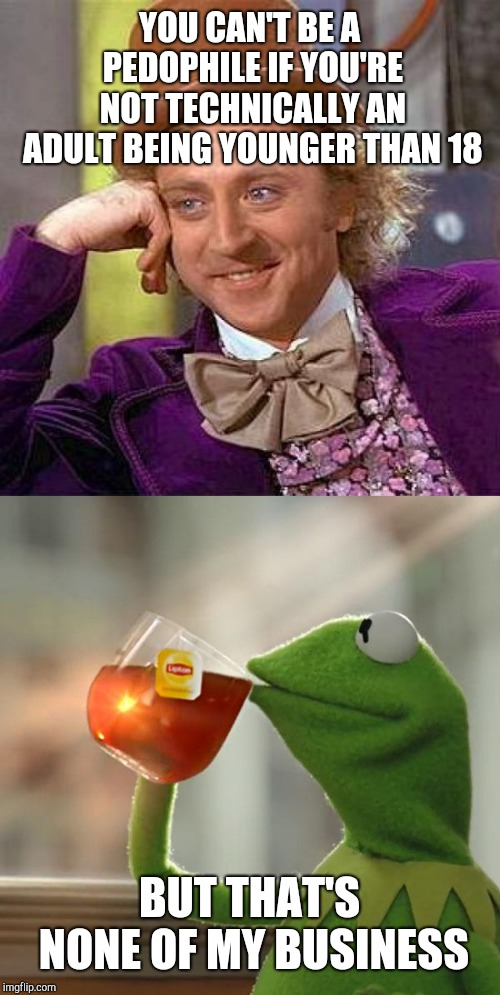 YOU CAN'T BE A PEDOPHILE IF YOU'RE NOT TECHNICALLY AN ADULT BEING YOUNGER THAN 18 BUT THAT'S NONE OF MY BUSINESS | image tagged in memes,creepy condescending wonka,but thats none of my business | made w/ Imgflip meme maker