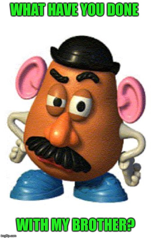 Mr Potato Head | WHAT HAVE YOU DONE WITH MY BROTHER? | image tagged in mr potato head | made w/ Imgflip meme maker