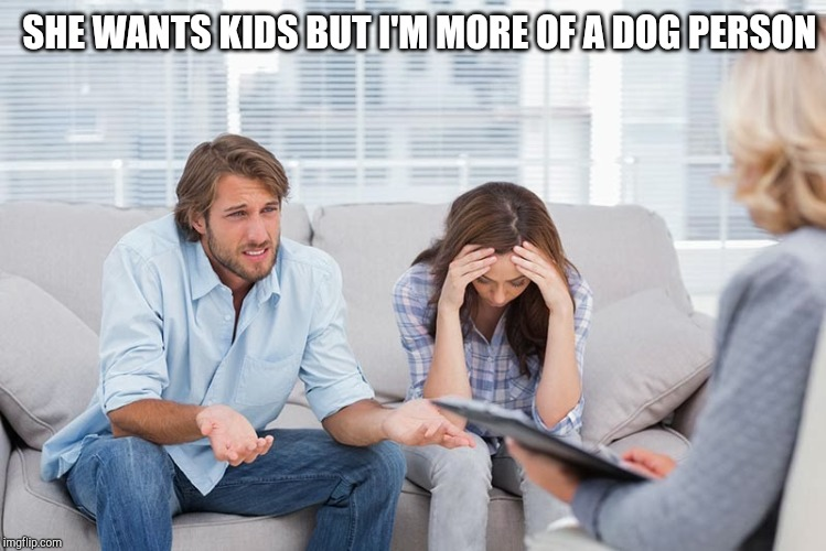 couples therapy | SHE WANTS KIDS BUT I'M MORE OF A DOG PERSON | image tagged in couples therapy | made w/ Imgflip meme maker