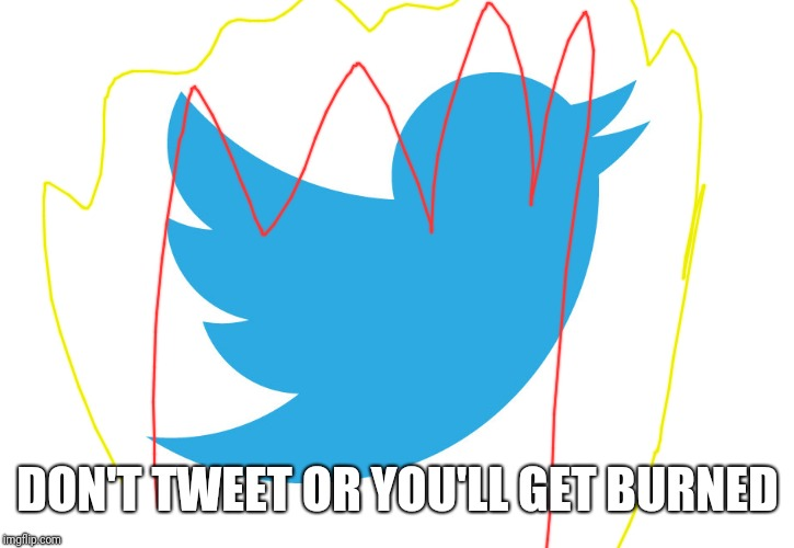 Twitter | DON'T TWEET OR YOU'LL GET BURNED | image tagged in twitter | made w/ Imgflip meme maker