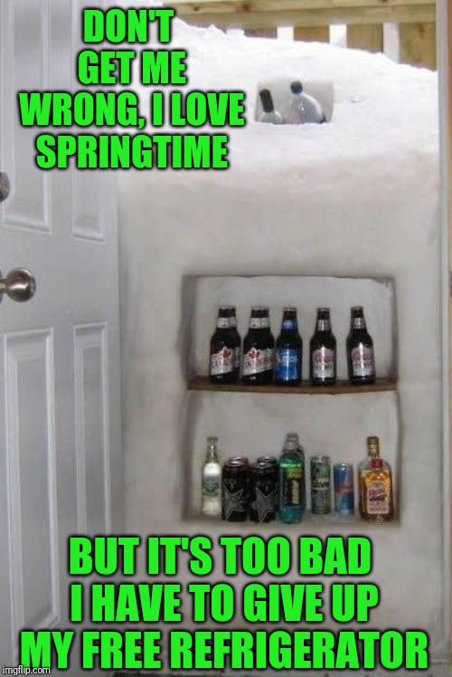The only thing that would make this cooler is an ice dispenser | DON'T GET ME WRONG, I LOVE SPRINGTIME BUT IT'S TOO BAD I HAVE TO GIVE UP MY FREE REFRIGERATOR | image tagged in memes,refrigerator,alright gentlemen we need a new idea,springtime,put it somewhere else patrick,new york | made w/ Imgflip meme maker