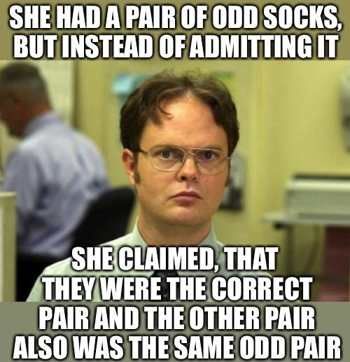 Dwight Schrute Meme | SHE HAD A PAIR OF ODD SOCKS, BUT INSTEAD OF ADMITTING IT SHE CLAIMED, THAT THEY WERE THE CORRECT PAIR AND THE OTHER PAIR ALSO WAS THE SAME O | image tagged in memes,dwight schrute | made w/ Imgflip meme maker