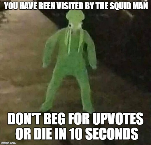 Seriously... don't |  YOU HAVE BEEN VISITED BY THE SQUID MAN; DON'T BEG FOR UPVOTES OR DIE IN 10 SECONDS | image tagged in squid,squidman,memes | made w/ Imgflip meme maker