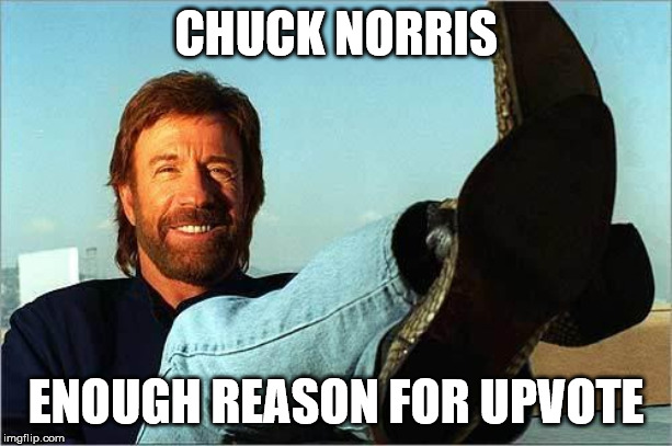 Another upvote begging meme | CHUCK NORRIS ENOUGH REASON FOR UPVOTE | image tagged in chuck norris says,fishing for upvotes,memes | made w/ Imgflip meme maker