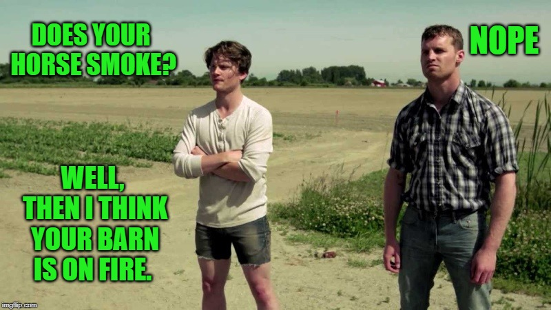 farm talk | DOES YOUR HORSE SMOKE? NOPE WELL, THEN I THINK YOUR BARN IS ON FIRE. | image tagged in kewlew,pun,funny,silly,farmers | made w/ Imgflip meme maker