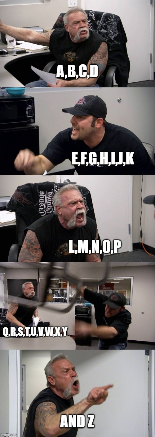 American Chopper Argument | A,B,C,D E,F,G,H,I,J,K L,M,N,O,P Q,R,S,T,U,V,W,X,Y AND Z | image tagged in memes,american chopper argument | made w/ Imgflip meme maker