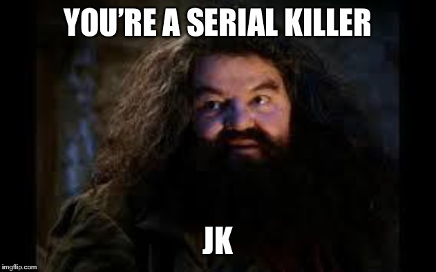 hagrid yer a wizard | YOU'RE A SERIAL KILLER JK | image tagged in hagrid yer a wizard | made w/ Imgflip meme maker