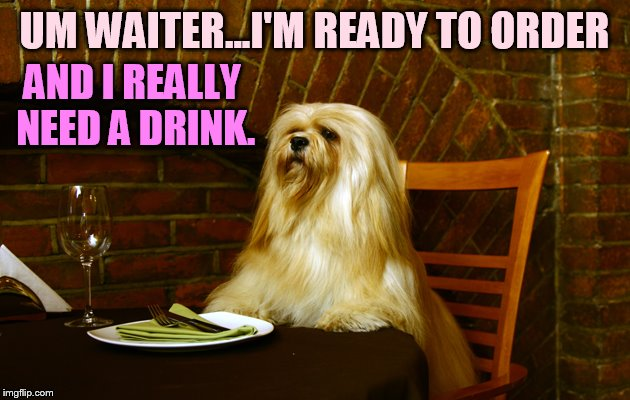 UM WAITER...I'M READY TO ORDER AND I REALLY NEED A DRINK. | made w/ Imgflip meme maker
