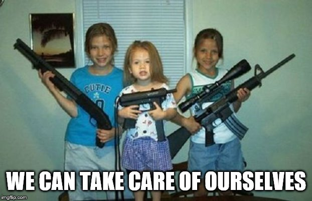 Protect themselves | WE CAN TAKE CARE OF OURSELVES | image tagged in bad parents,guns | made w/ Imgflip meme maker