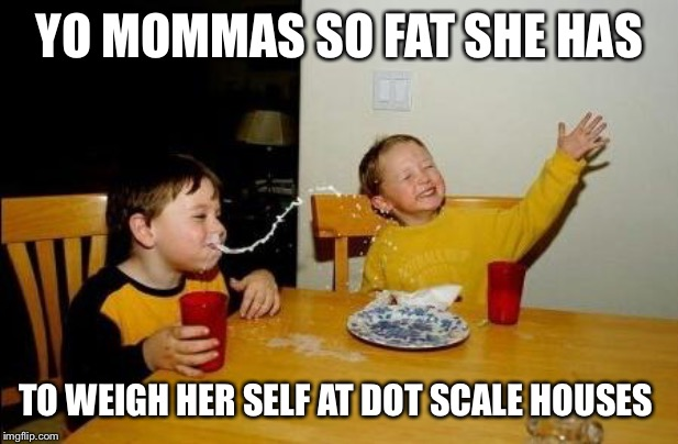 Yo Momma So Fat | YO MOMMAS SO FAT SHE HAS TO WEIGH HER SELF AT DOT SCALE HOUSES | image tagged in yo momma so fat | made w/ Imgflip meme maker