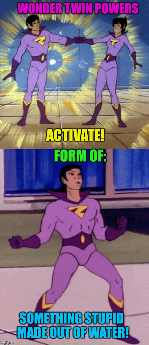 WONDER TWIN POWERS SOMETHING STUPID MADE OUT OF WATER! ACTIVATE! FORM OF: | made w/ Imgflip meme maker