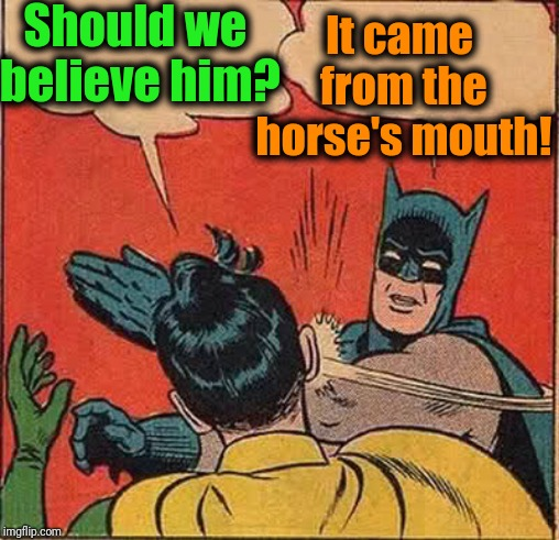 Batman Slapping Robin Meme | Should we believe him? It came from the horse's mouth! | image tagged in memes,batman slapping robin | made w/ Imgflip meme maker