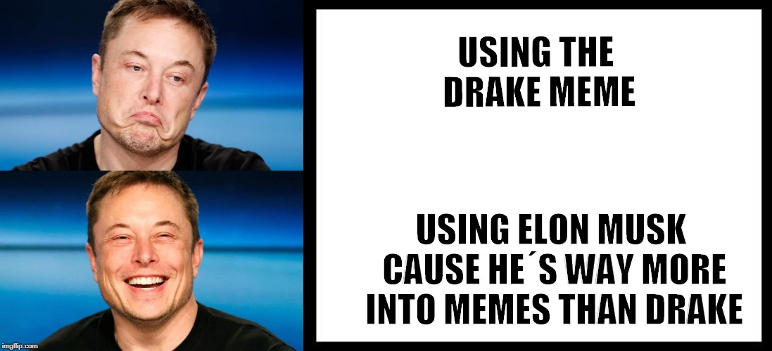 Musk | USING THE DRAKE MEME USING ELON MUSK CAUSE HE´S WAY MORE INTO MEMES THAN DRAKE | image tagged in drake meme | made w/ Imgflip meme maker