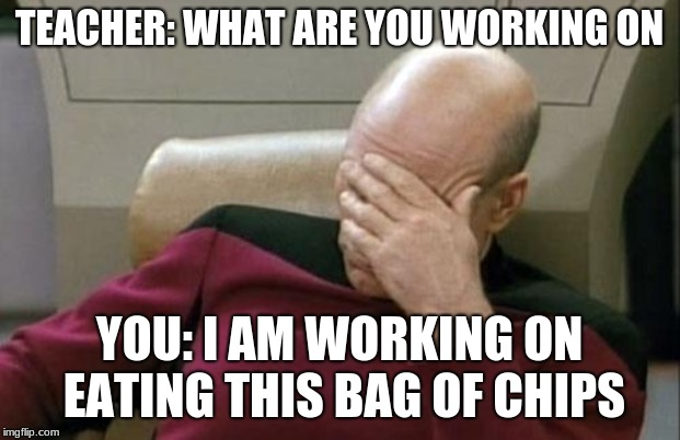 Captain Picard Facepalm Meme | TEACHER: WHAT ARE YOU WORKING ON YOU: I AM WORKING ON EATING THIS BAG OF CHIPS | image tagged in memes,captain picard facepalm | made w/ Imgflip meme maker