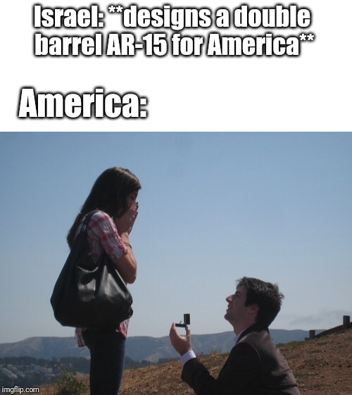 Marriage proposal | Israel: **designs a double barrel AR-15 for America** America: | image tagged in marriage proposal | made w/ Imgflip meme maker