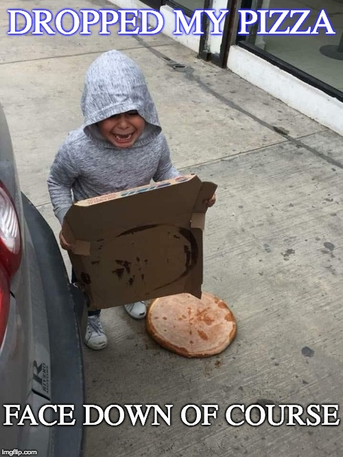 so you think you're having a bad day | DROPPED MY PIZZA FACE DOWN OF COURSE | image tagged in pizza,drop,toddler,cry,oops,fail | made w/ Imgflip meme maker
