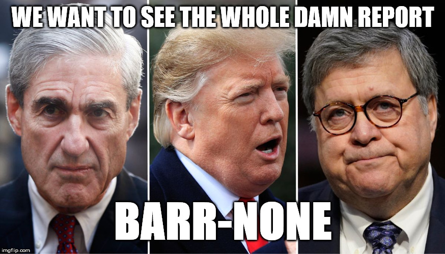 Whole Damn Thing | WE WANT TO SEE THE WHOLE DAMN REPORT BARR-NONE | image tagged in political,russian investigation | made w/ Imgflip meme maker