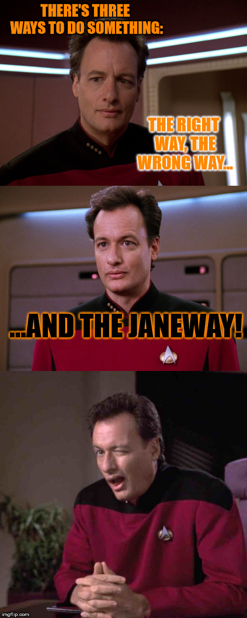 "Q, making fun of all ""Star Trek Voyager"" fans.. 