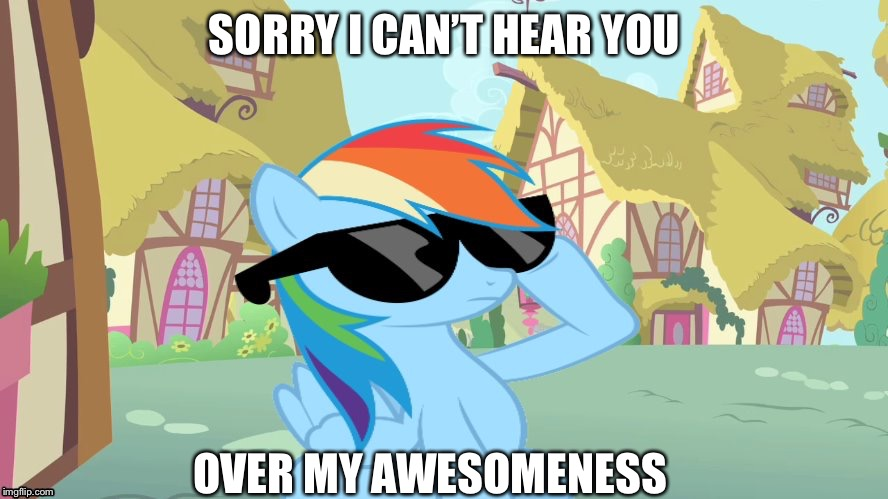 Rainbow Dash Shades | SORRY I CAN'T HEAR YOU OVER MY AWESOMENESS | image tagged in rainbow dash shades | made w/ Imgflip meme maker