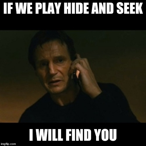 Liam Neeson Taken | IF WE PLAY HIDE AND SEEK I WILL FIND YOU | image tagged in memes,liam neeson taken,funny,funny memes,hide and seek,i will find you | made w/ Imgflip meme maker