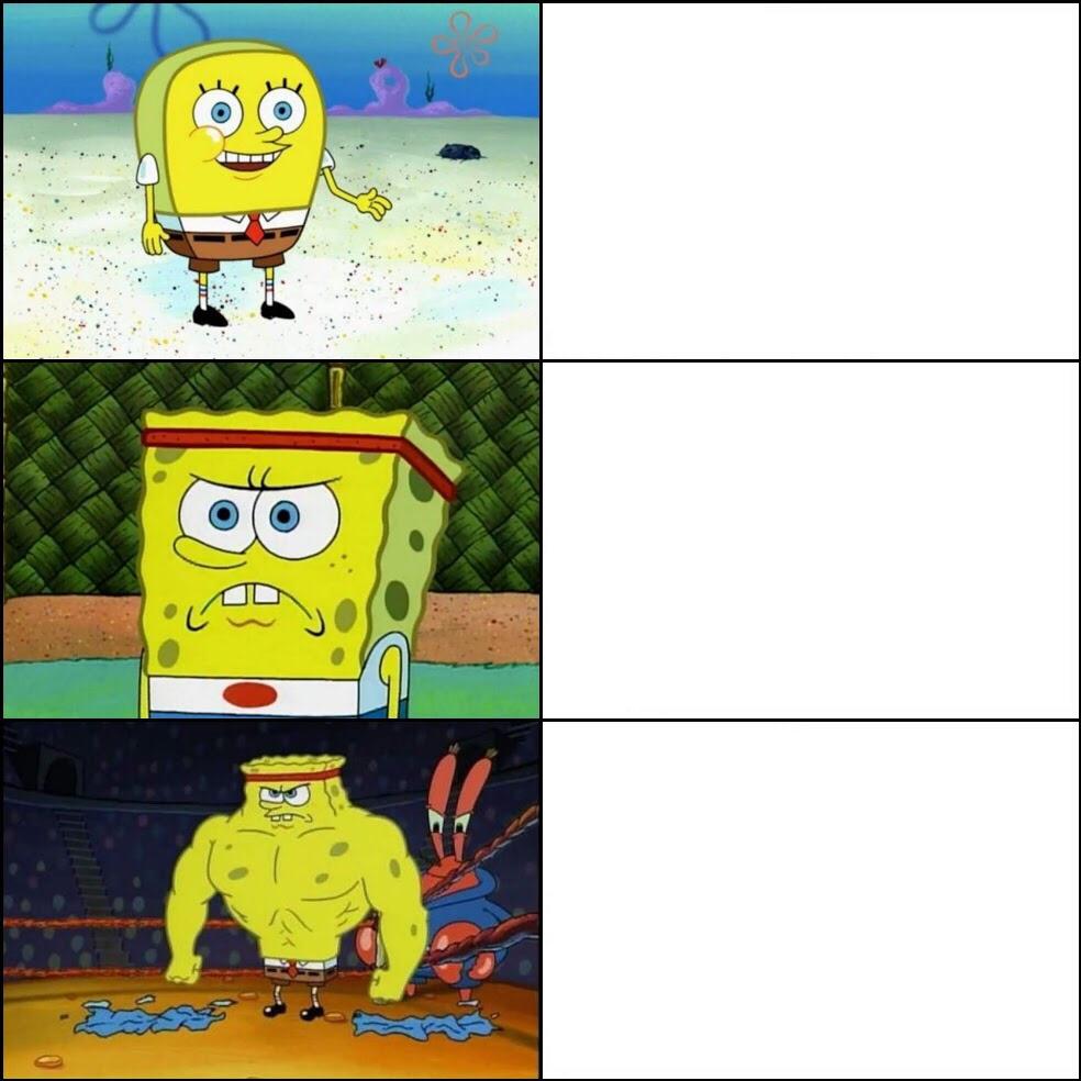 Increasingly buffed spongebob meme template