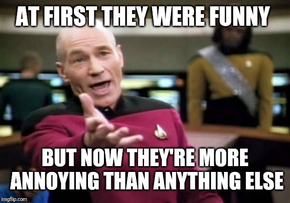 Picard Wtf Meme | AT FIRST THEY WERE FUNNY BUT NOW THEY'RE MORE ANNOYING THAN ANYTHING ELSE | image tagged in memes,picard wtf | made w/ Imgflip meme maker