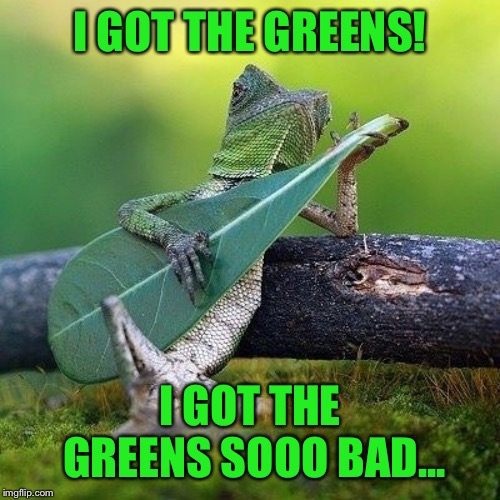 Playing the greens | I GOT THE GREENS! I GOT THE GREENS SOOO BAD... | image tagged in lizard,blues,player,funny picture,green,memes | made w/ Imgflip meme maker