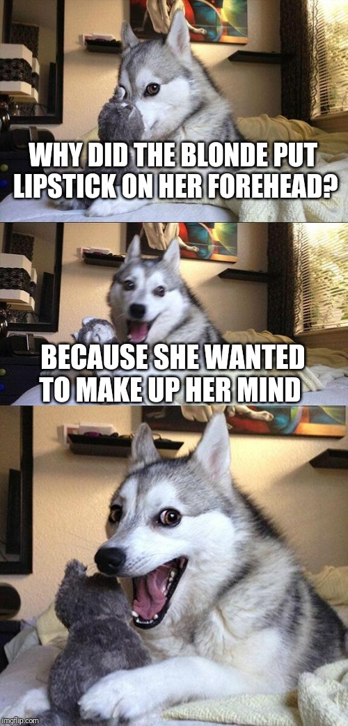Bad Pun Dog Meme | WHY DID THE BLONDE PUT LIPSTICK ON HER FOREHEAD? BECAUSE SHE WANTED TO MAKE UP HER MIND | image tagged in memes,bad pun dog | made w/ Imgflip meme maker