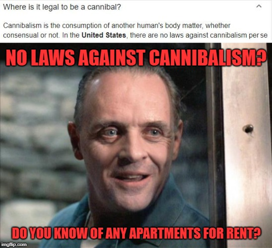 NO LAWS AGAINST CANNIBALISM? DO YOU KNOW OF ANY APARTMENTS FOR RENT? | image tagged in hannibal lecter,cannibal | made w/ Imgflip meme maker