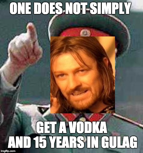 ONE DOES NOT SIMPLY; GET A VODKA AND 15 YEARS IN GULAG | image tagged in boromir,stalin,gulag | made w/ Imgflip meme maker