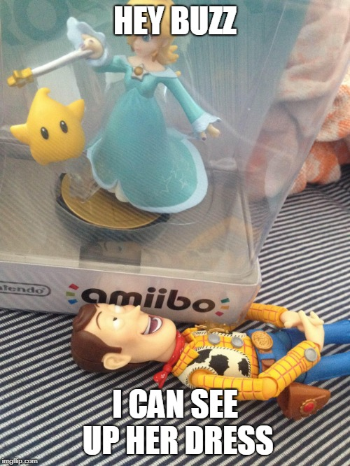 woodys got a woody | HEY BUZZ I CAN SEE UP HER DRESS | image tagged in rosalina,woody,toy story,amiibo,peeping tom | made w/ Imgflip meme maker