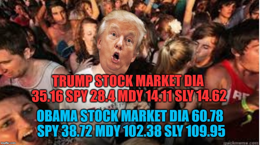 Same number of days in office | TRUMP STOCK MARKET DIA 35.16 SPY 28.4 MDY 14.11 SLY 14.62 OBAMA STOCK MARKET DIA 60.78 SPY 38.72 MDY 102.38 SLY 109.95 | image tagged in suddenly clear donald | made w/ Imgflip meme maker