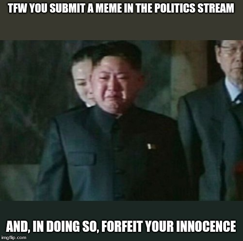 Worth? | TFW YOU SUBMIT A MEME IN THE POLITICS STREAM AND, IN DOING SO, FORFEIT YOUR INNOCENCE | image tagged in memes,kim jong un sad,politics stream,sad | made w/ Imgflip meme maker
