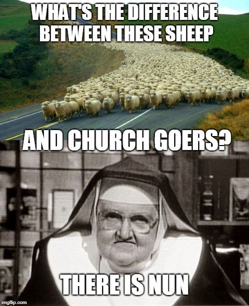 WHAT'S THE DIFFERENCE BETWEEN THESE SHEEP AND CHURCH GOERS? THERE IS NUN | image tagged in memes,frowning nun,sheep | made w/ Imgflip meme maker