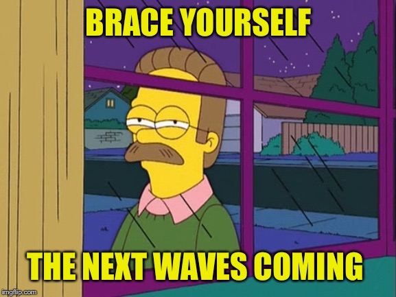 Ned Flanders | BRACE YOURSELF THE NEXT WAVES COMING | image tagged in ned flanders | made w/ Imgflip meme maker