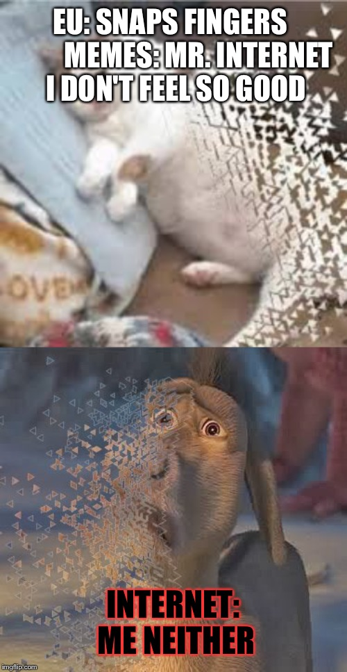 EU: SNAPS FINGERS          MEMES: MR. INTERNET I DON'T FEEL SO GOOD; INTERNET: ME NEITHER | image tagged in mr stark i don't feel so good,i don't feel so good | made w/ Imgflip meme maker