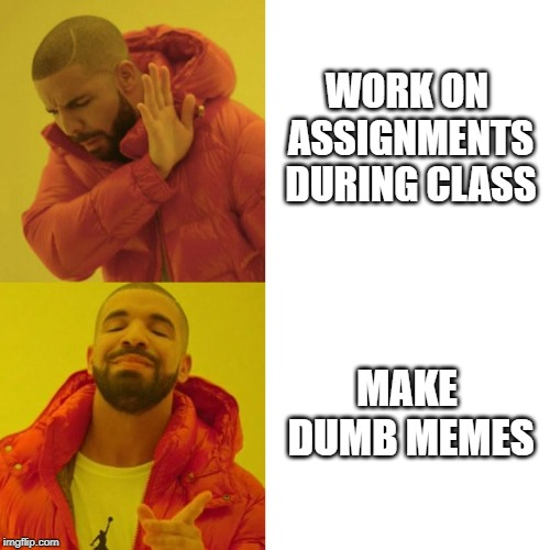 Drake Blank | WORK ON ASSIGNMENTS DURING CLASS MAKE DUMB MEMES | image tagged in drake blank | made w/ Imgflip meme maker