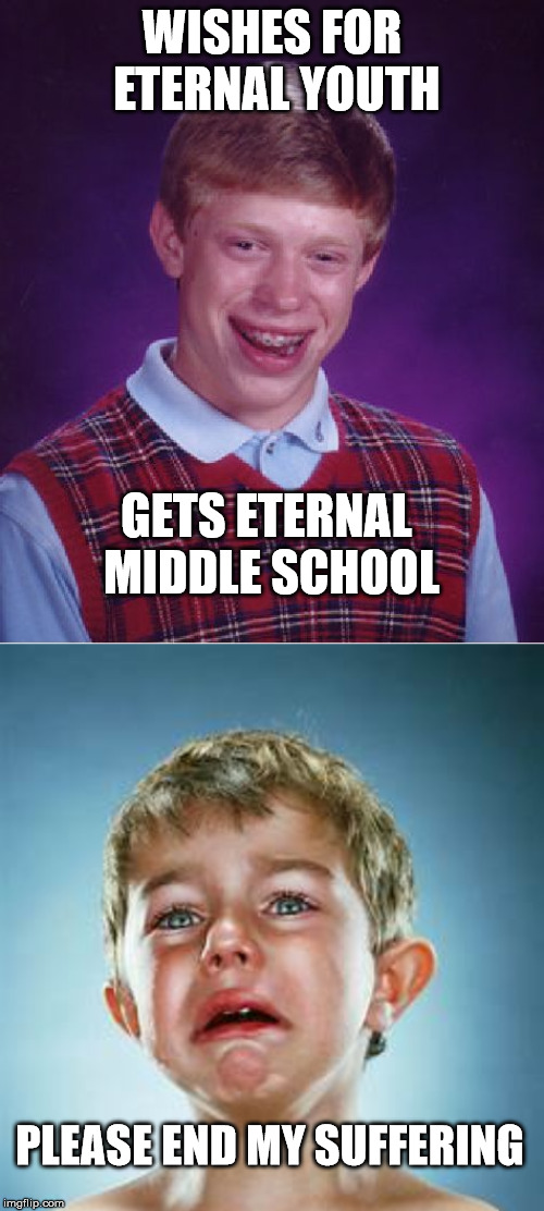 THE HORROR!!!!!!!!!!!!!! | WISHES FOR ETERNAL YOUTH GETS ETERNAL MIDDLE SCHOOL PLEASE END MY SUFFERING | image tagged in memes,bad luck brian,middle school | made w/ Imgflip meme maker